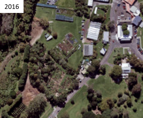 Above - series of aerial photographs showing how the Sanctuary Mahi Whenua has changed over time. Aerial photography source: Auckland Council. Land Parcel Boundary information from LINZ (Crown Copyright Reserved).