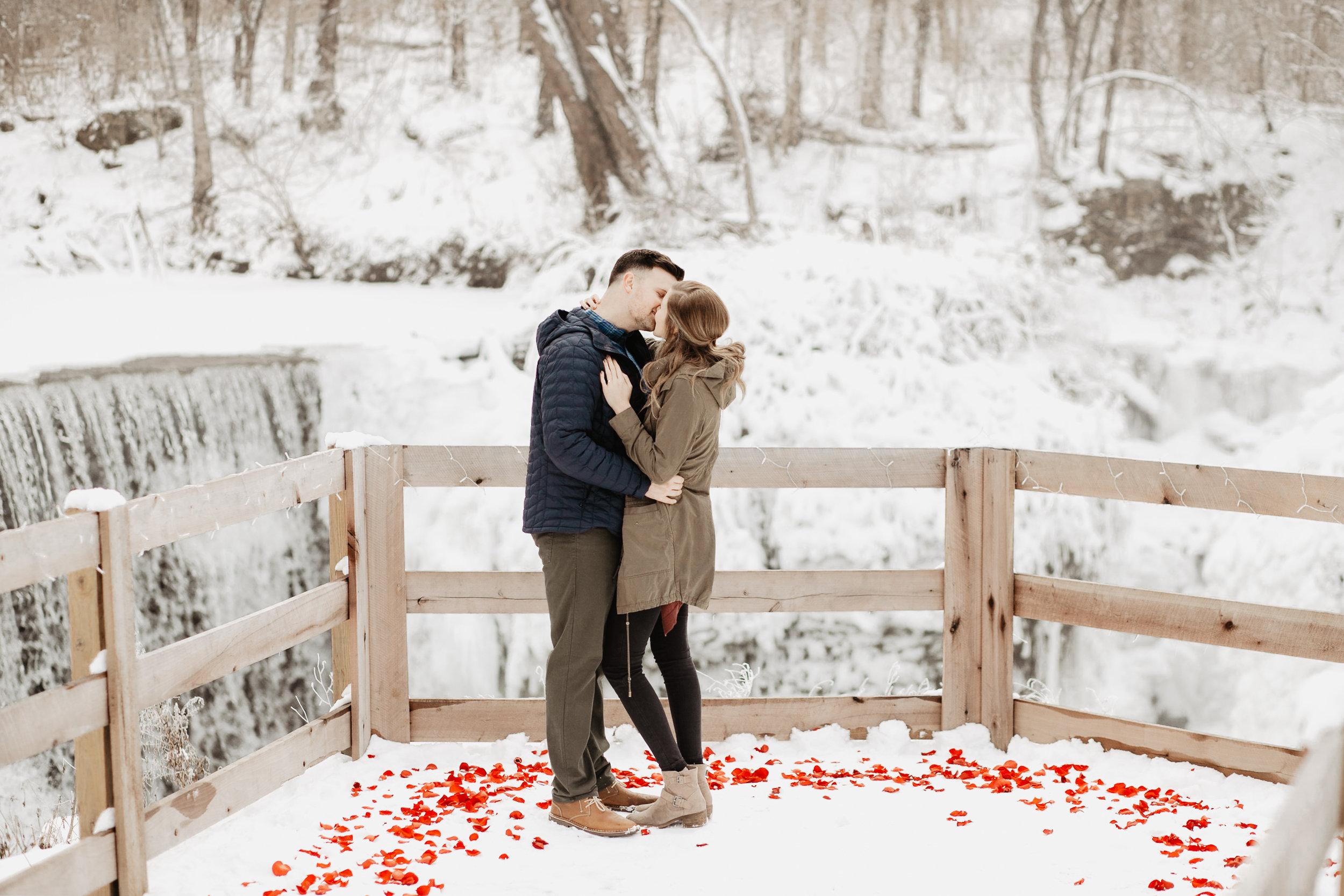 Anna + Stephen   Ohio Waterfall Winter Surprise Proposal   Columbus Wedding + Engagement Photographer   Catherine Milliron Photography