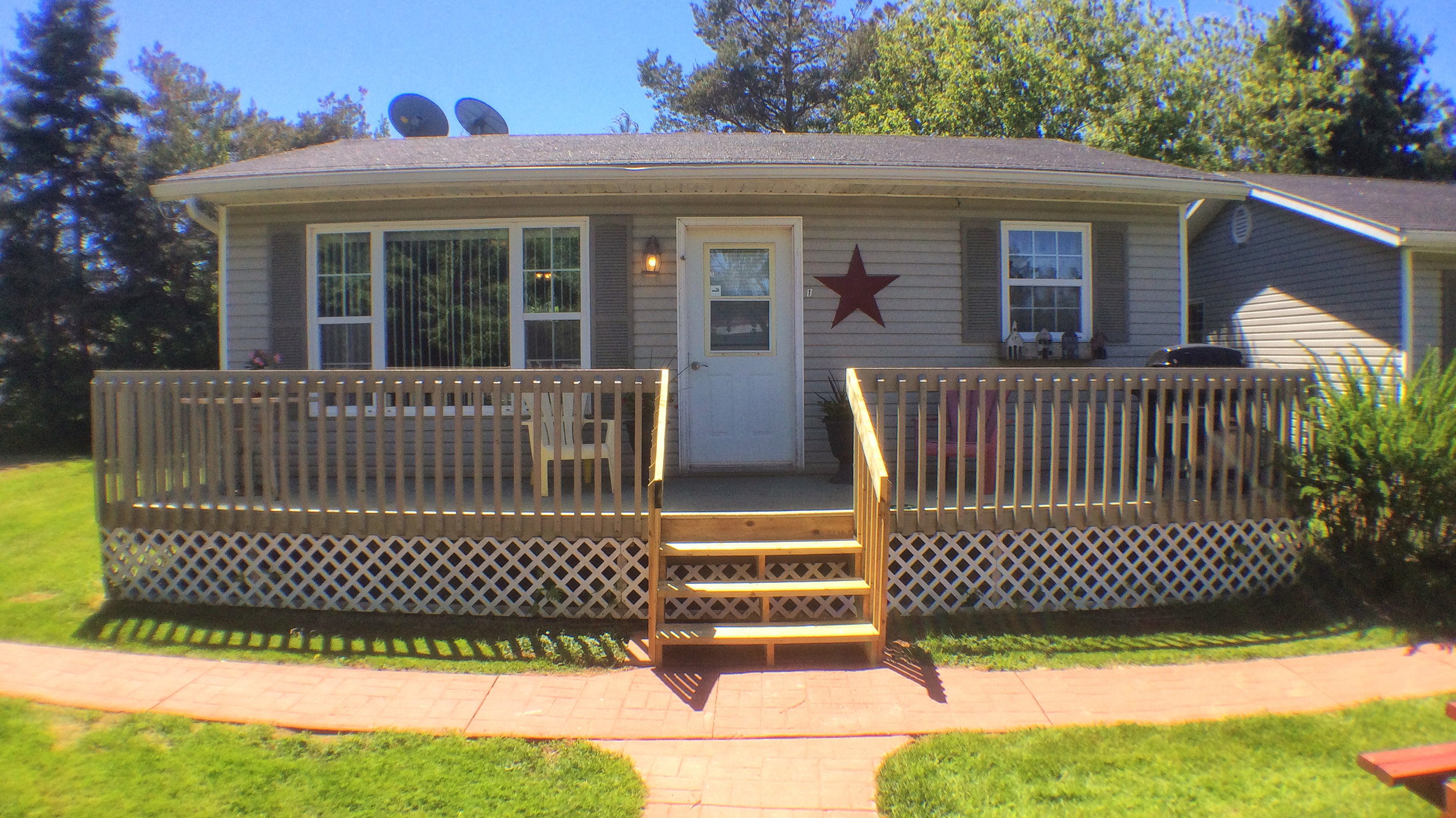Front of cottage unit and deck