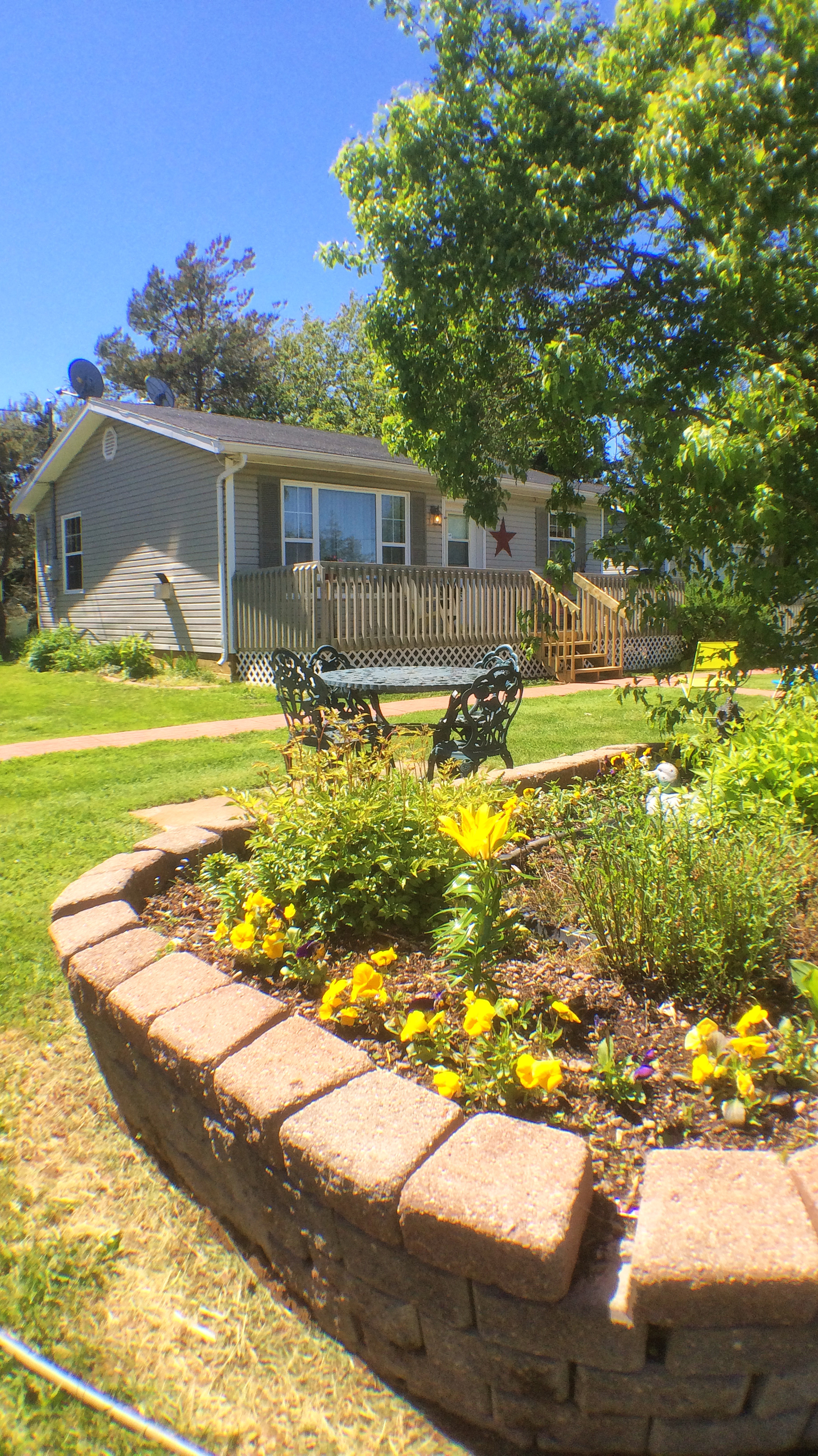 View of garden in front of cottages