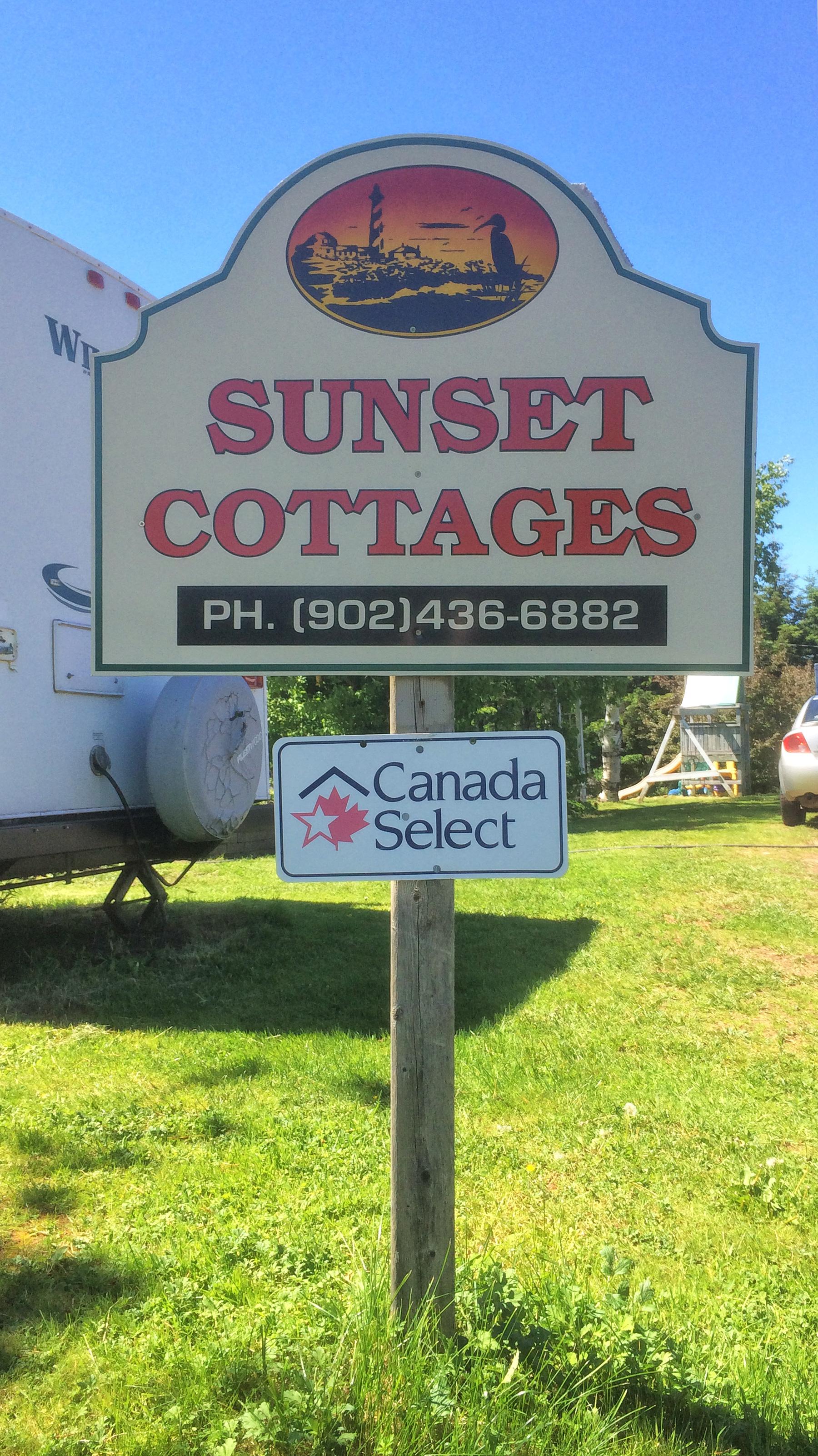Sunset Cottages sign