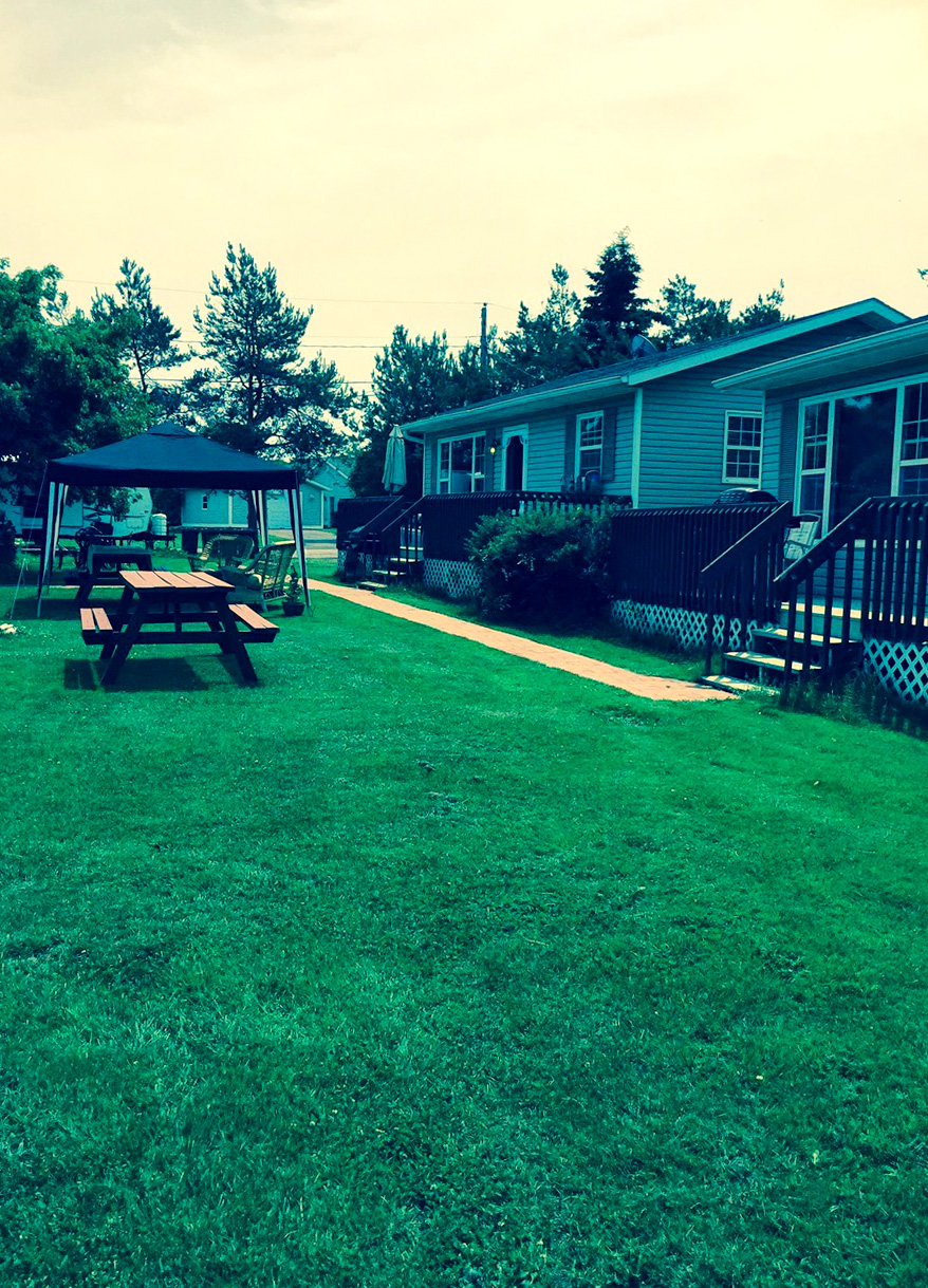 Yard in front of cottages