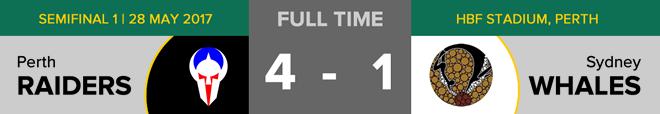 Goals: Perth 4 (Blake Sutcliffe, Rhys Milburn x 2, Jonathan Chan), Sydney 1 (Scott Philip). Free throws: Perth 9, Sydney 10. Penalties: Perth 2, Sydney 0. Time penalties: Perth 2, Sydney 2