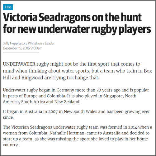 Victoria Seadragons on the hunt for new underwater rugby players  Whitehorse Leader, 19 December 2016