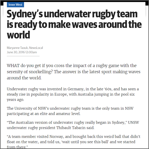 Sydney's underwater rugby team is ready to make waves around the world  NewsLocal Inner West, 30 June 2016