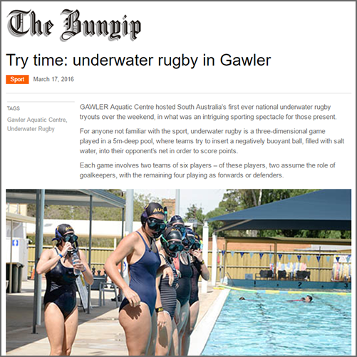Try time: underwater rugby in Gawler  Gawler Bunyip, 17 March 2016
