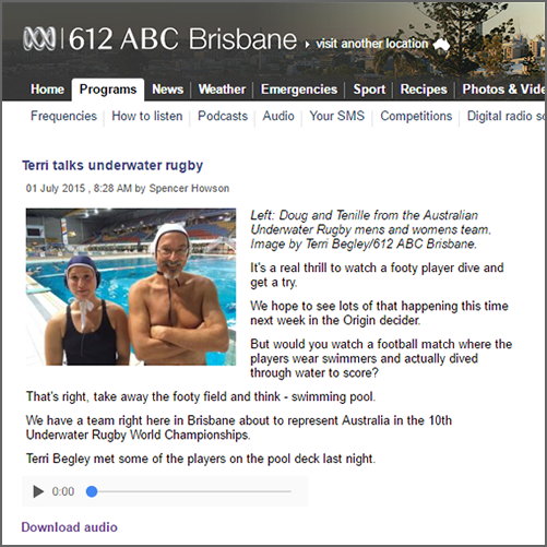 Terri talks underwater rugby  ABC Radio 612 Brisbane, 01 July 2015