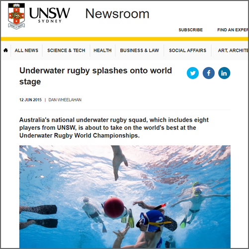 Underwater rugby splashes onto world stage  UNSW Newsroom, 12 June 2015
