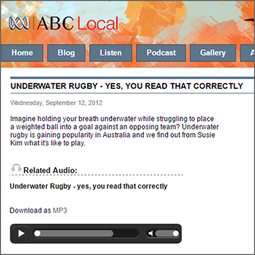 Underwater Rugby - Yes, you read that correctly  ABC Radio Hobart, 12 September 2012