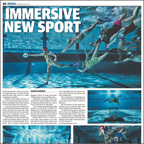 Melbourne UWR -   Underwater Rugby players go deep for their sport  Herald Sun, 01 April 2018