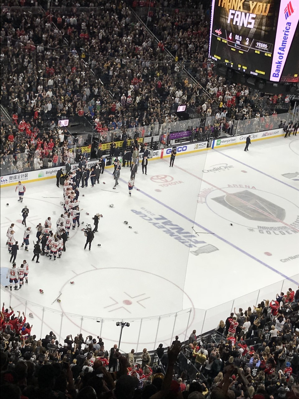 The Washington Capitals celebrate after winning their first Stanley Cup