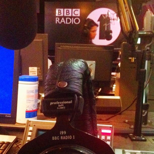 Custom BBC Radio 1 Beyerdynamic headphones!!!! How cool is that? (Taken with  Instagram )