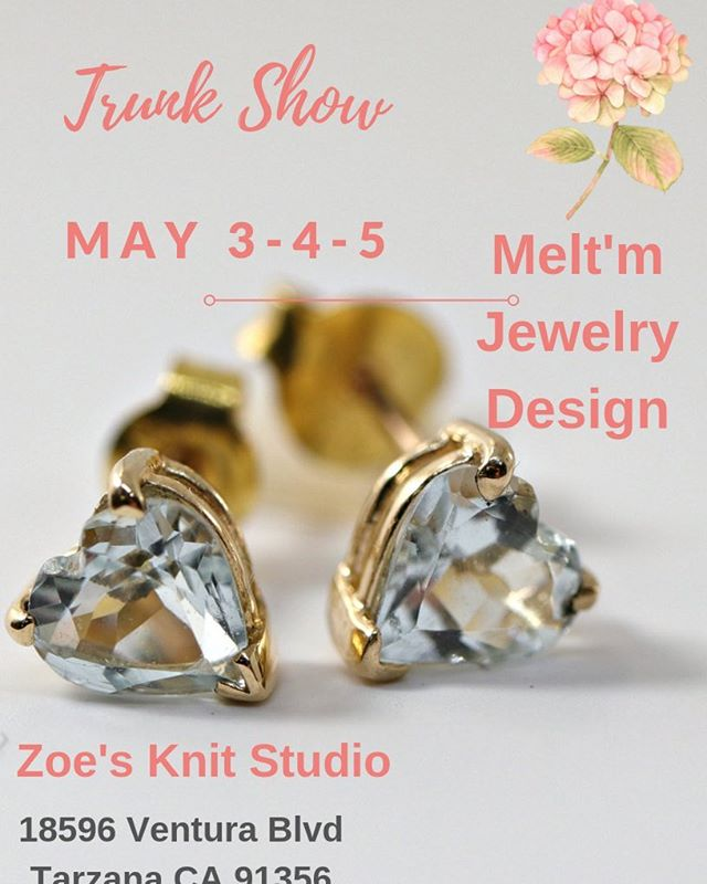 MOTHER'S DAY JEWELRY TRUNK SHOW: MELT'M JEWELRY DESIGN will be ZOE KNIT STUDIO only 3 days this weekend just before Mother's Day! May 3-4-5  Looking for something special for Mom or yourself? VisitZoe's for a presentation of the latest jewelry creations from Melt'm jewelry design.  #trunkshow @zoesknitstudio #popupshop #mothersday #gift #mom #jewelry #jewelryshow