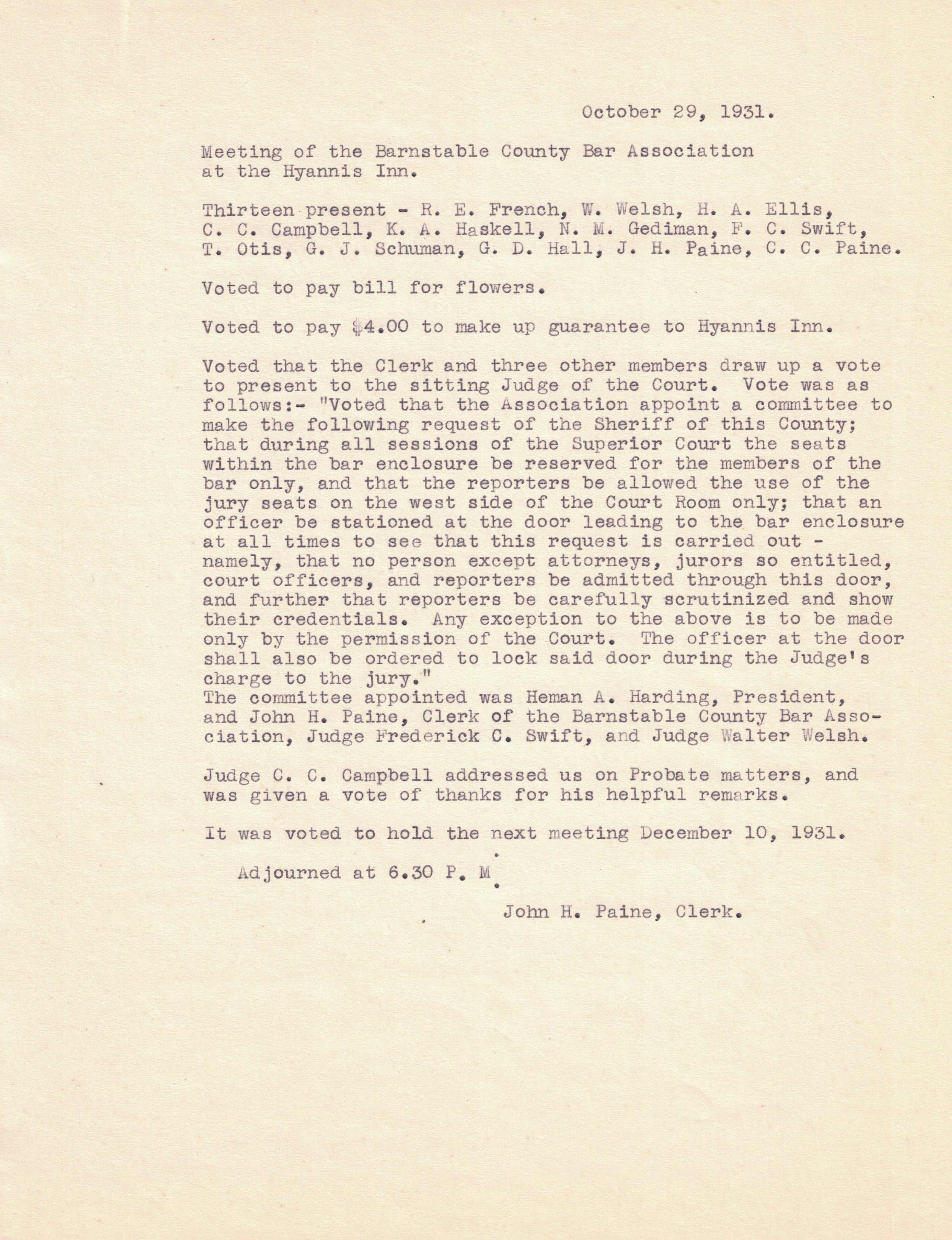 1931 Meeting