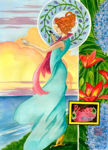 """""""Fruit of Peace"""" watercolor ©Sara Drescher  In this painting, the Fruit of Peace is depicted as a woman standing at the edge of a cliff overlooking the ocean. She has olives in her halo that symbolize peace. In her left hand, she cradles a dove, another symbol for peace and also the Holy Spirit. In her right hand, a sparrow perches. To her left, lilies grow. Both the lilies and the sparrow refer to the scriptures in Matthew 6:25-34 that speak about how God watches over the sparrows and lilies of the field and He loves us even more than they. We don't have to worry, just have peace. (Psalm 4:8) The hyacinths are symbols of peace of mind. Under her feet lays a snake which refers to Romans 16:20 The fruit label has strawberries on it which are symbols of righteousness. (Isaiah 32:17)"""