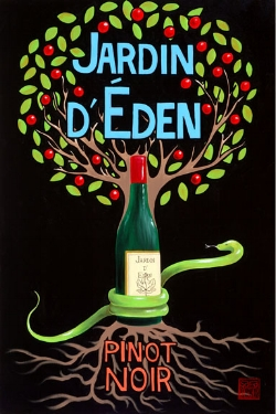 """Eden""  acrylic ©Sara Drescher  This piece portrays the Tree of the Knowledge of Good and Evil from which Adam and Eve ate the forbidden fruit. The serpent tempter is wrapped around the tree.The wine is a symbol for Christ and the blood He shed to save us from the sin that started in the Garden."