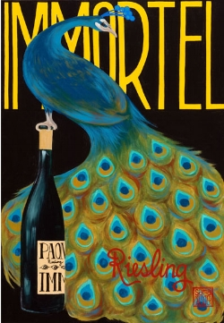 """Peacock""  acrylic ©Sara Drescher  In this piece, the wine is a symbol for Christ and the peacock is a symbol for immortality.The title in French says, ""Immortal.""According to Medieval tradition, the flesh of a peacock would not decompose, so peacocks came to symbolize immortality."