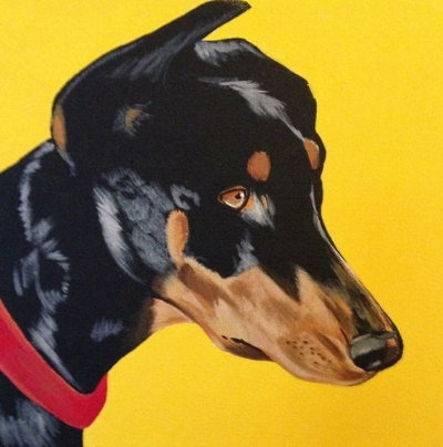 Pet Portraits are available in acrylic(seen here), watercolor, and pencil. Pricing below.