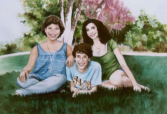 Group watercolor portrait by Sara Drescher