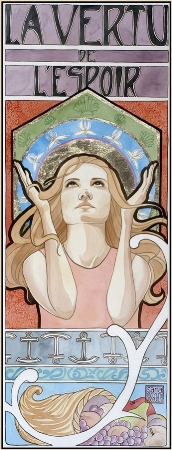"""Hope""  watercolor ©Sara Drescher  The Virtue of Hope traditionally has her hands raised to heaven and has wings. Her patron saint is St. James, symbolized by the shells in her halo. The iris symbolizes a message of hope. The anchor is Christ who is the author of our hope, and the cornucopia symbolizes the manifestation of what we hope for."