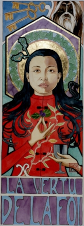 """Faith""  watercolor ©Sara Drescher  Faith is garbed in a red tunic with almond on it. Almond is symbolic of divine approval or favor.She is holding violets which are symbols for faith and humility. She holds a chalice, the cup of salvation. The ivy in her halo is symbolic of fidelity and eternal life. The dog is also symbolic of faith and loyalty. The keys are St. Peter's attribute and he is the ""patron saint"" of faith."