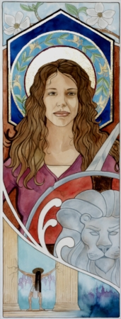 """Fortitude""  watercolor ©Sara Drescher  The dogwood represents endurance. The honeysuckle in her halo signifies steadfastness. Fortitude carries a sword and shield. The lion is also one of her attributes. Samson is Fortitude's ""patron saint."""