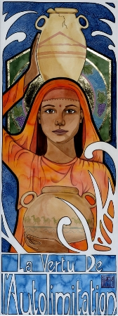 """Temperance""  watercolor ©Sara Drescher  Temperance is moderation and self-restraint. Traditionally she is shown holding a sword and a vase or two vases. Sometimes the vases translate to two vessels, one with wine and one with water, to show how she mixes the two to control herself. The grapes and the water in her halo reference this aspect. I think these symbols can refer to Jesus' miracle of the wine to water and Paul's teaching to Timothy to mix water with his wine for his stomach. The camels, on one of the vessels, are also a symbol of Temperance because of the idea that a camel does not need much to drink."
