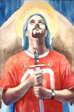 """""""Archangel Michael""""  watercolor ©Sara Drescher -private collection  This """"punk"""" angel wears a cross earring and holds a sword which is traditionally Michael's symbol. His watch is set to the eleventh hour and his halo reads: """"Holy Conqueror."""" The number 40 on his jersey is a number of testing, cleansing and renewal in the Bible."""