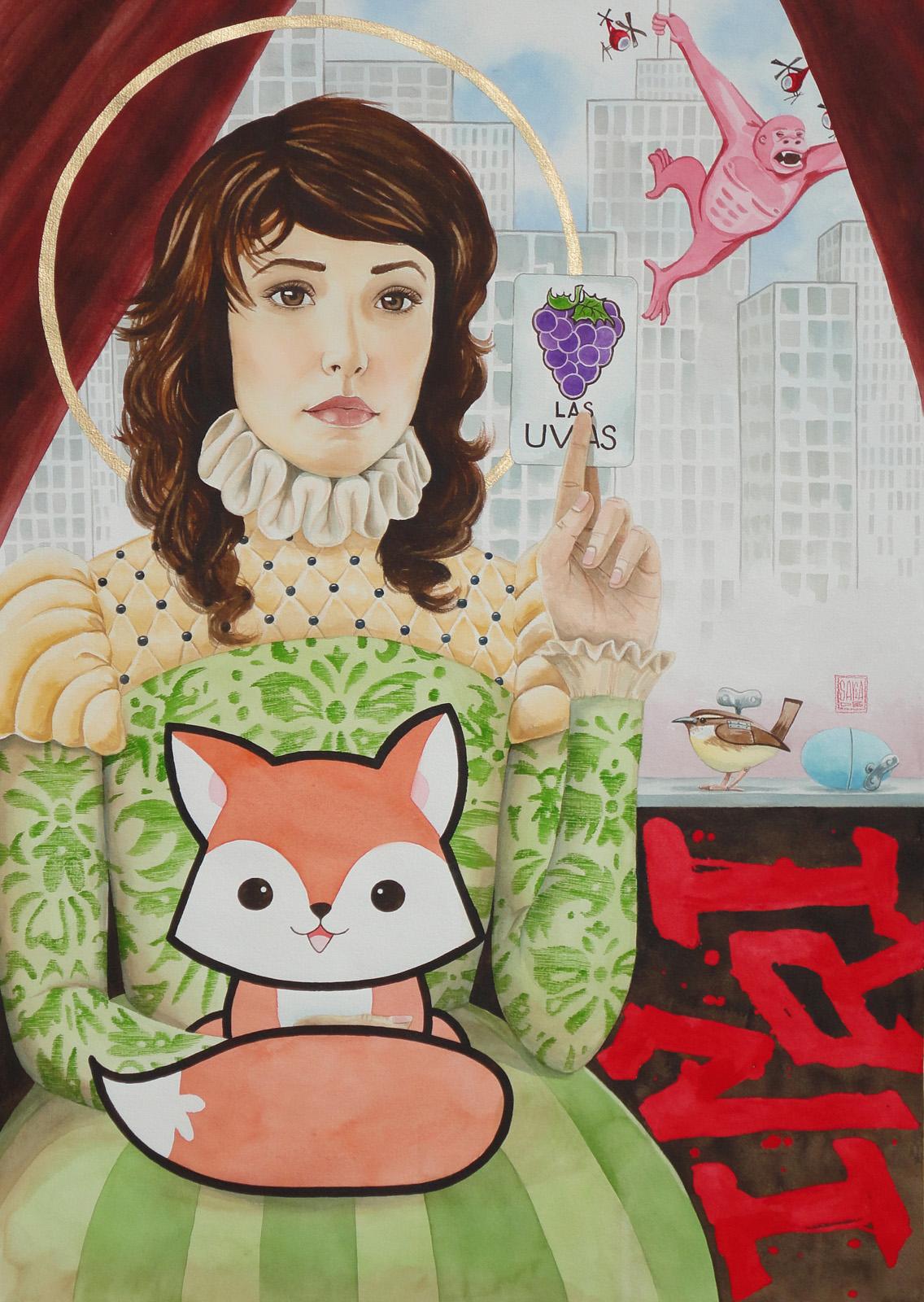 Saint and the Fox-watercolor-30x40-Sara D Braswell.jpg