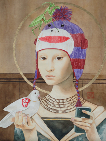 """""""The Saint and the Sock Monkey"""" watercolor ©Sara Drescher-private collection"""