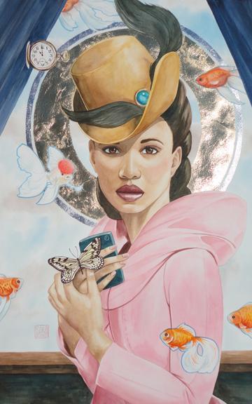 """The Saint Who Wore Pink"" watercolor ©Sara Drescher"