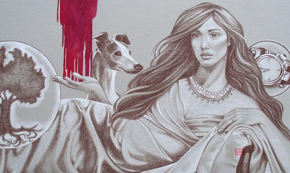 """""""Queen Esther"""" mixed media ©Sara Drescher"""