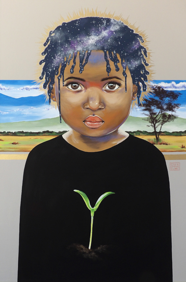"""The  """"Seed Series"""" represents the hope and potential inside people despite their circumstances. Poverty and abandonment is an invisible famine that can kill families, cultures, and society. God sees the seed of potential in all of us and uses us to help those that need a beacon of hope to escape the cycle of despair. In this piece, the landscape behind the child is indicative of where this child is from."""