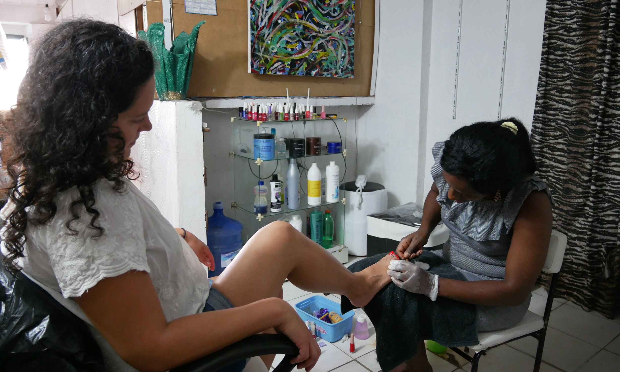 Getting my nails did in Salvador