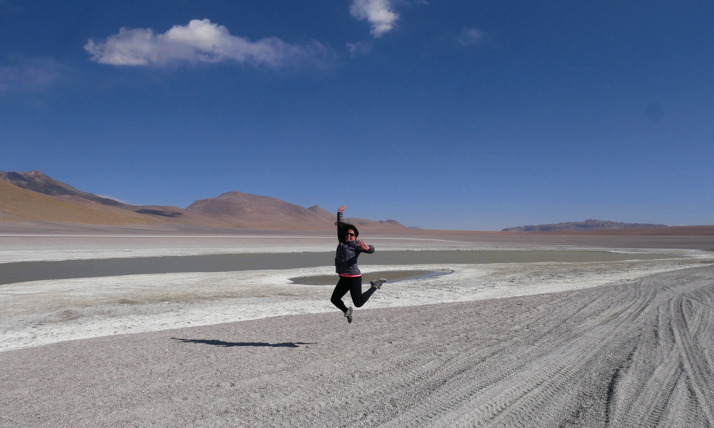 Jumping for joy in the Uyuni Salt Flats, Bolivia