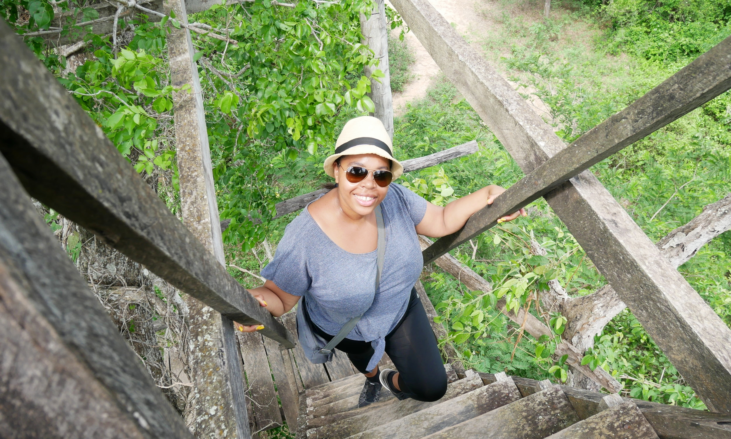 Simone making her way up the treehouse
