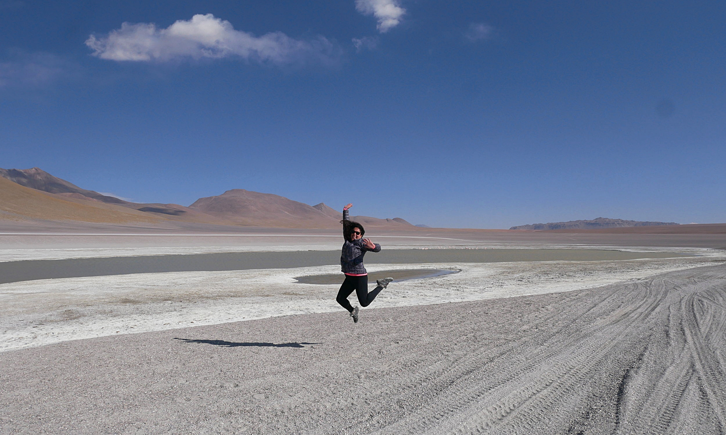 Jumping around at one of the many salt lagoons