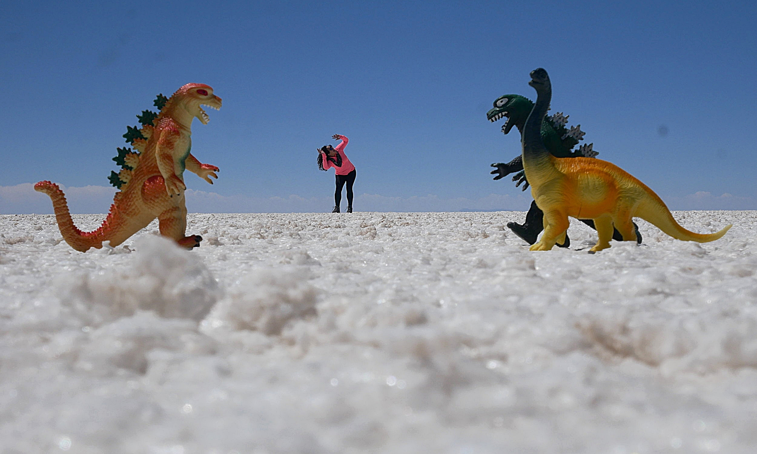 Getting attacked by dinosaurs (or just playing with perspective in the Salt Flats)