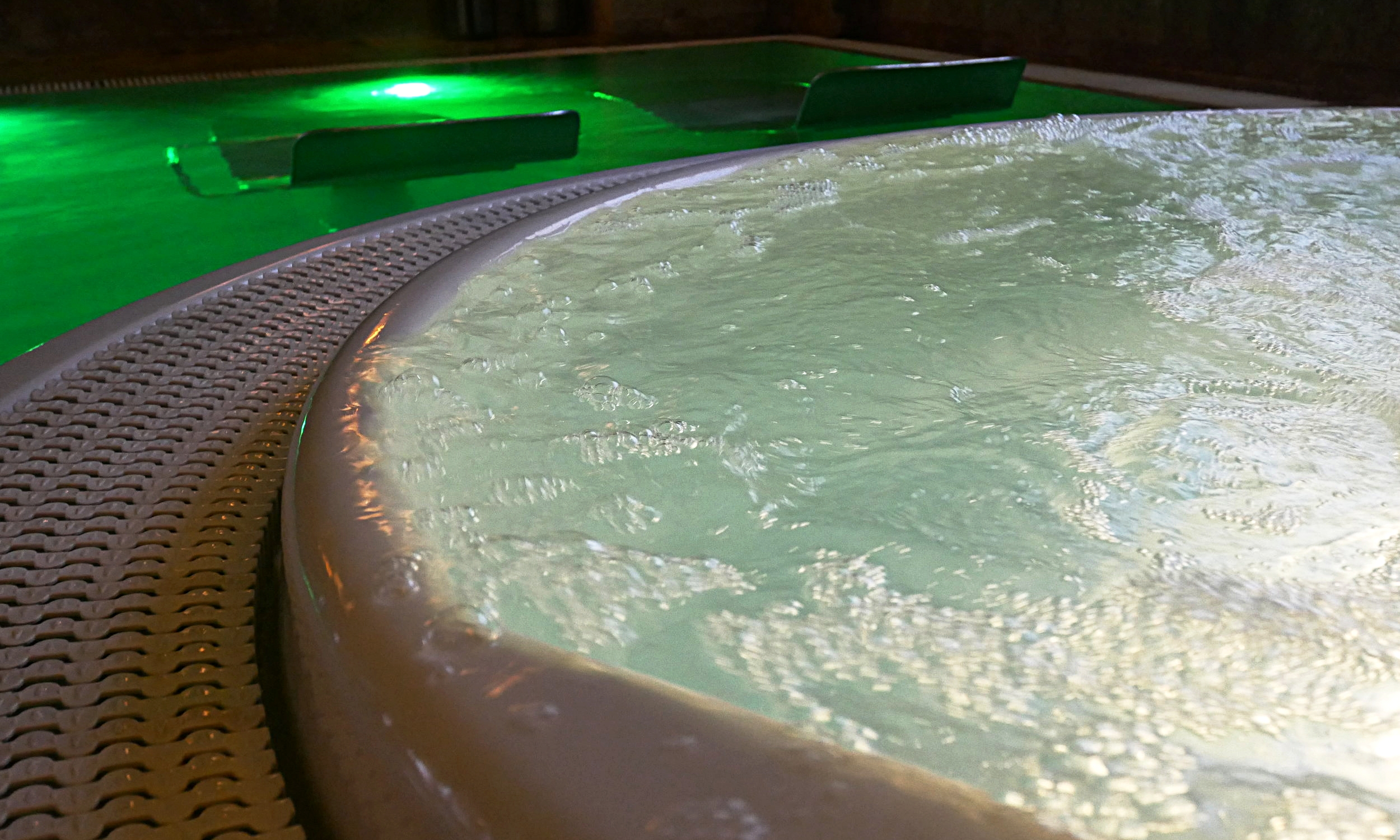 The hydrotherapy room's whirlpool bath