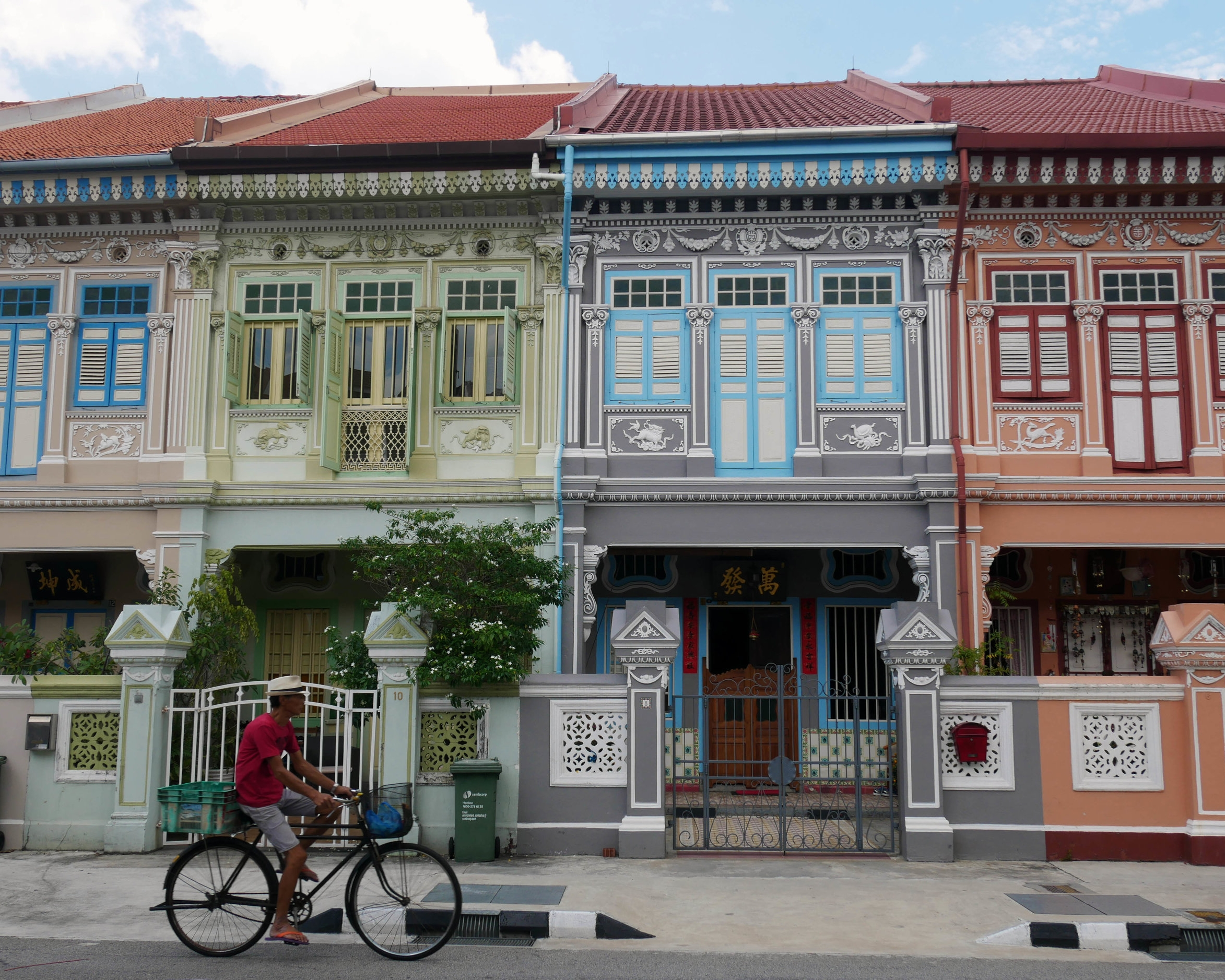 Colouful homes on Koon Seng Road