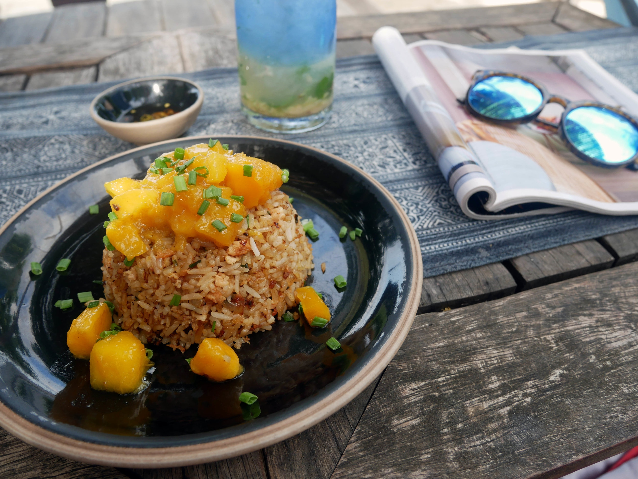 A delicious Mango Fried Rice at the Castaway Resort