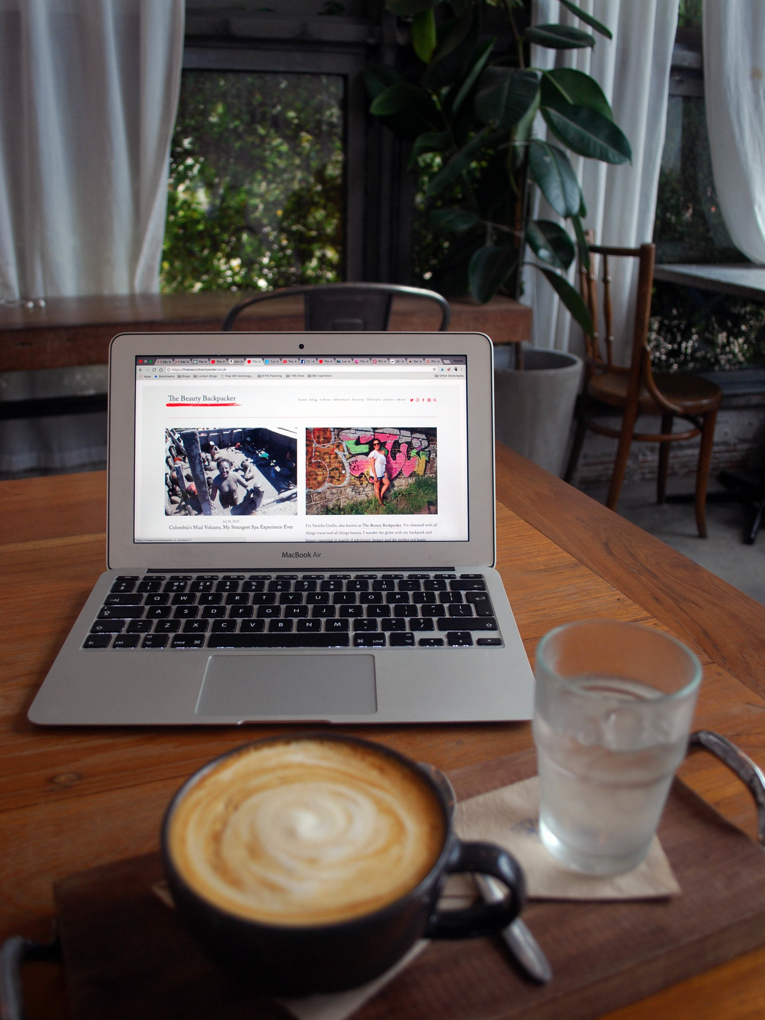 Always working on my blog baby, wherever I am in the world