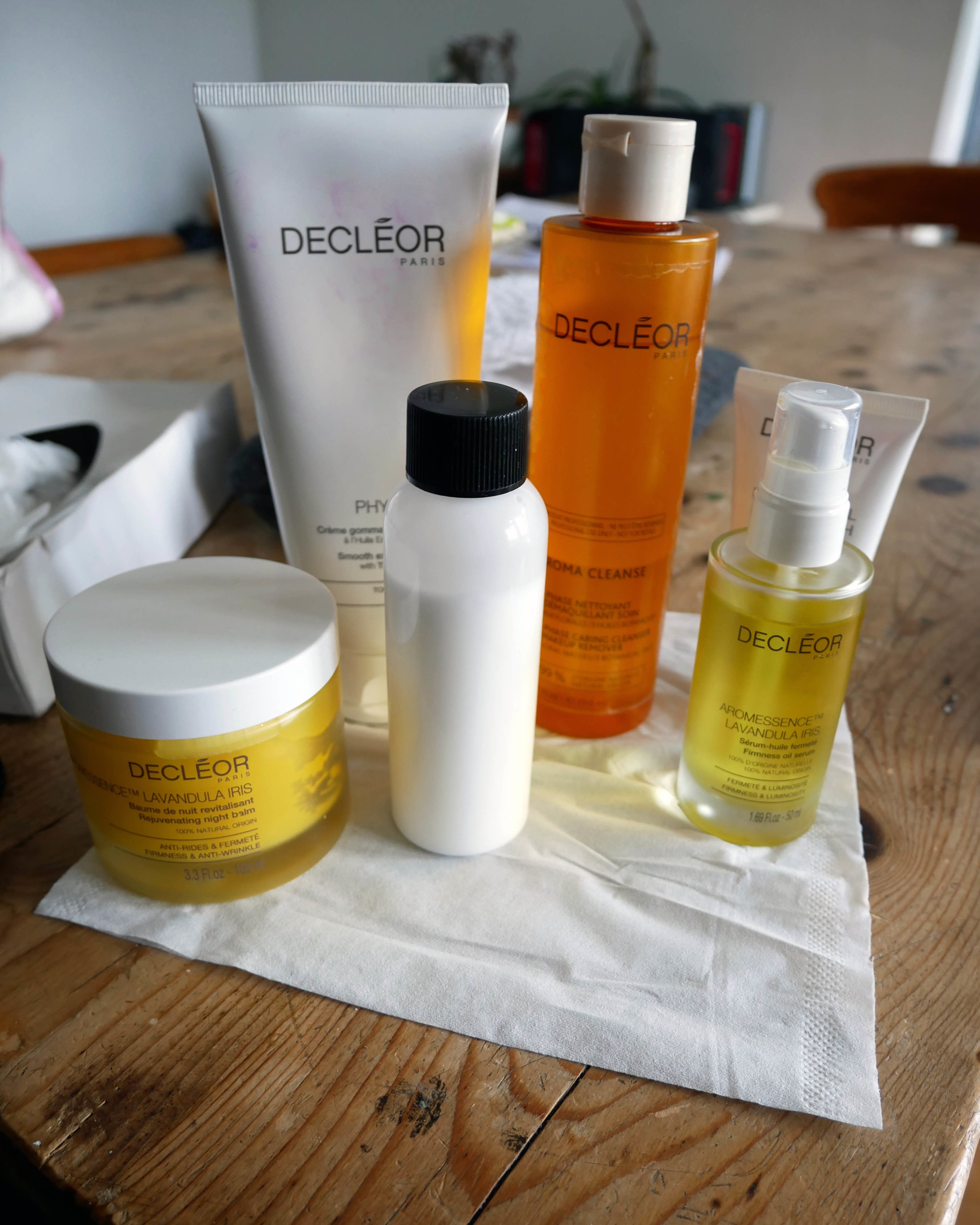 All the facial products used for the Blow Ltd's Decléor Ultimate Vitamin Glow Facial