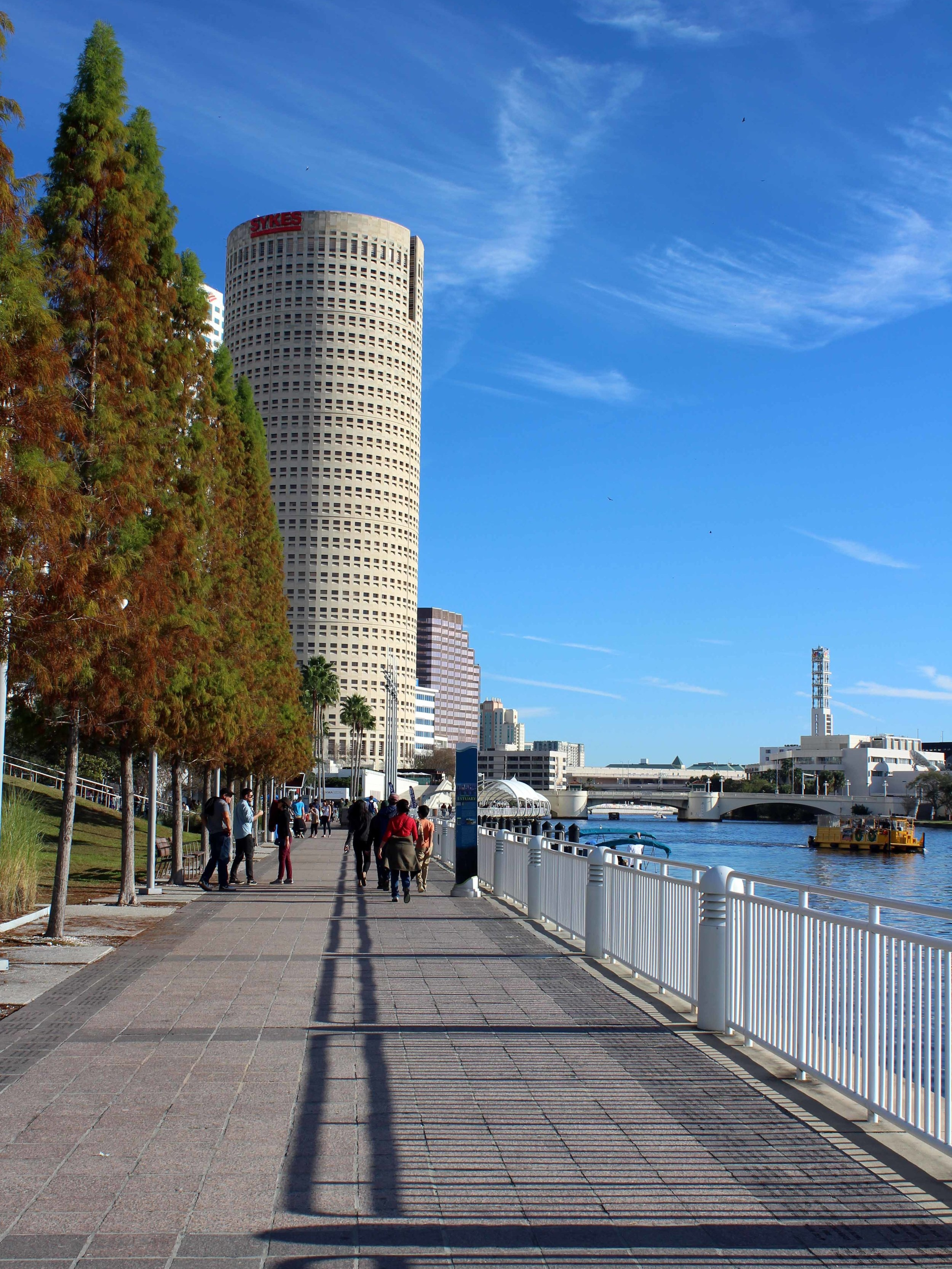 Strolling along Tampa Bay's Riverwalk, which sits along the Hillsborough River
