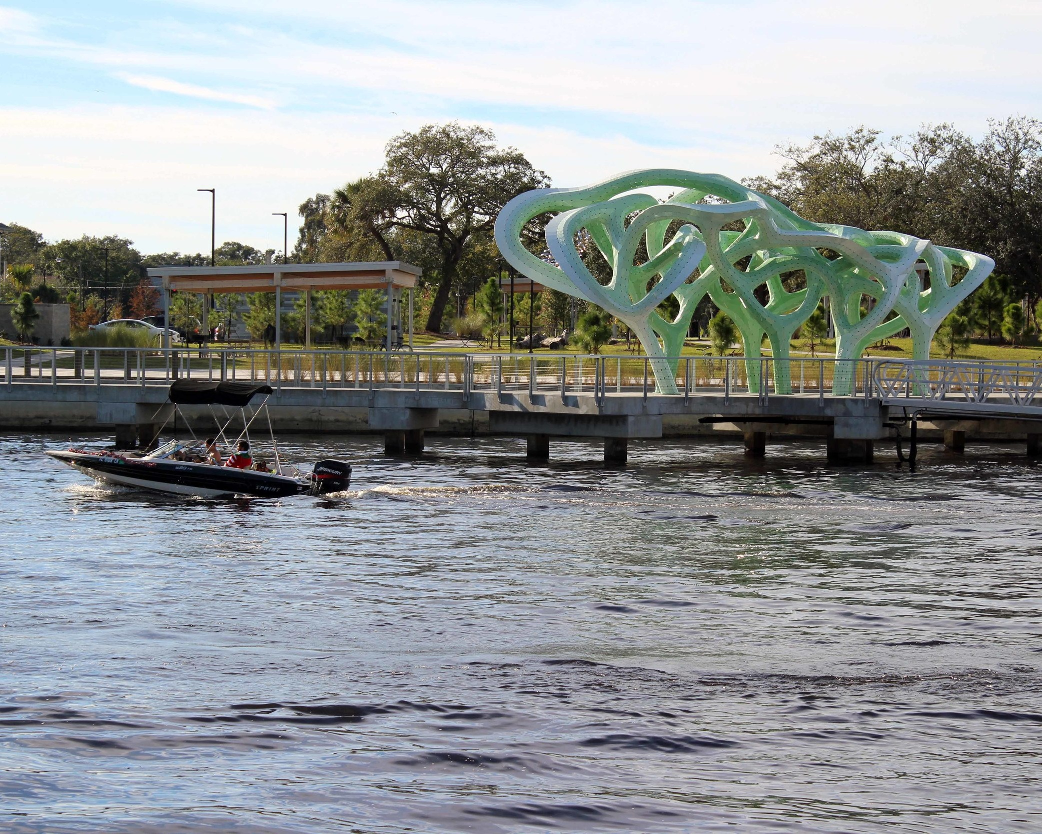 Outdoor sculpture just outside the Straz Centre of Performing Arts, seen from Tampa's Riverwalk