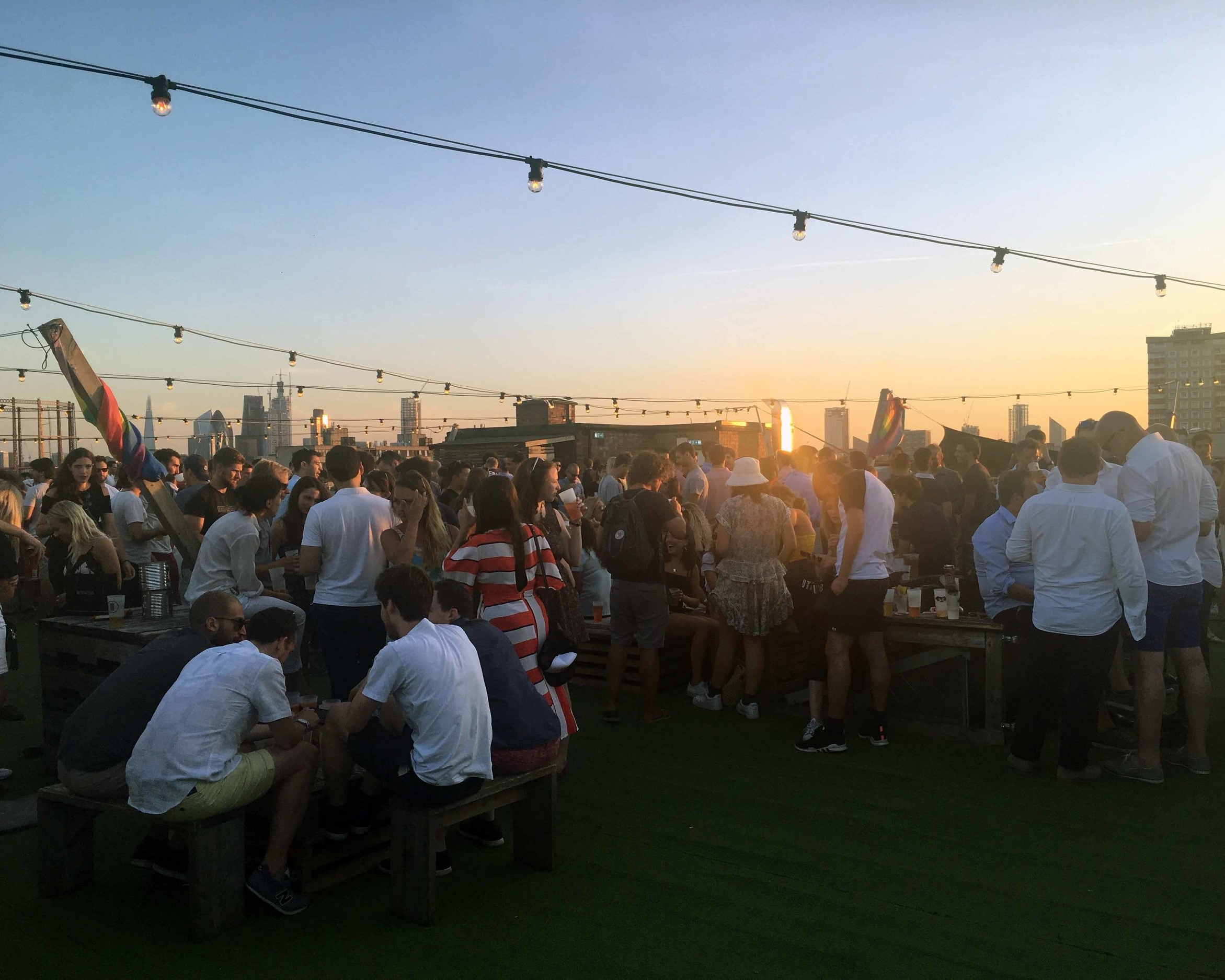 Watching the sunset atop Netil 360, one of London's coolest rooftop bars