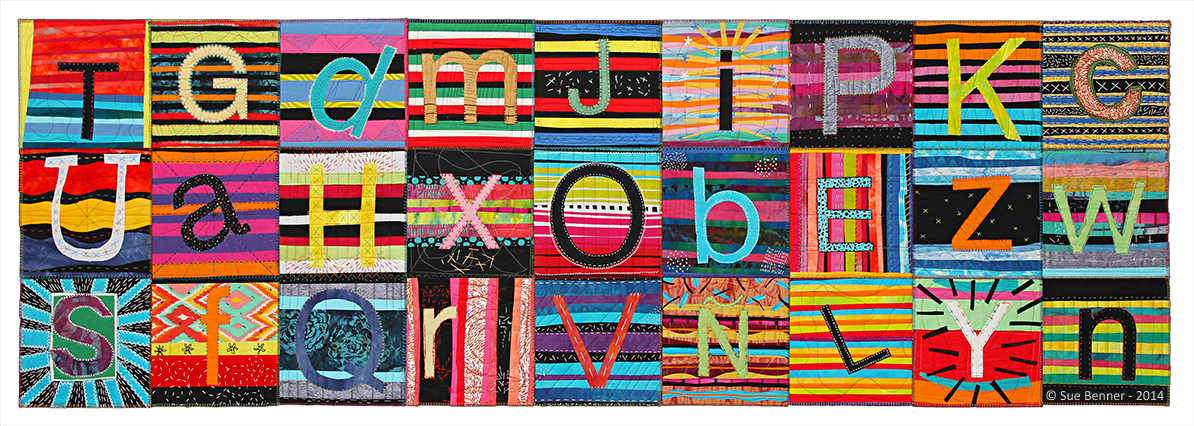 Avance Center Letter Quilt (Serape),  31 H X 92 W in, 2014, cotton, silk, fused collage, machine and hand stitched. Created as a service learning project for AVANCE WACO by students in the Medical Humanities 3300 Class, at Baylor University, Waco, Texas, spring semester 2014.