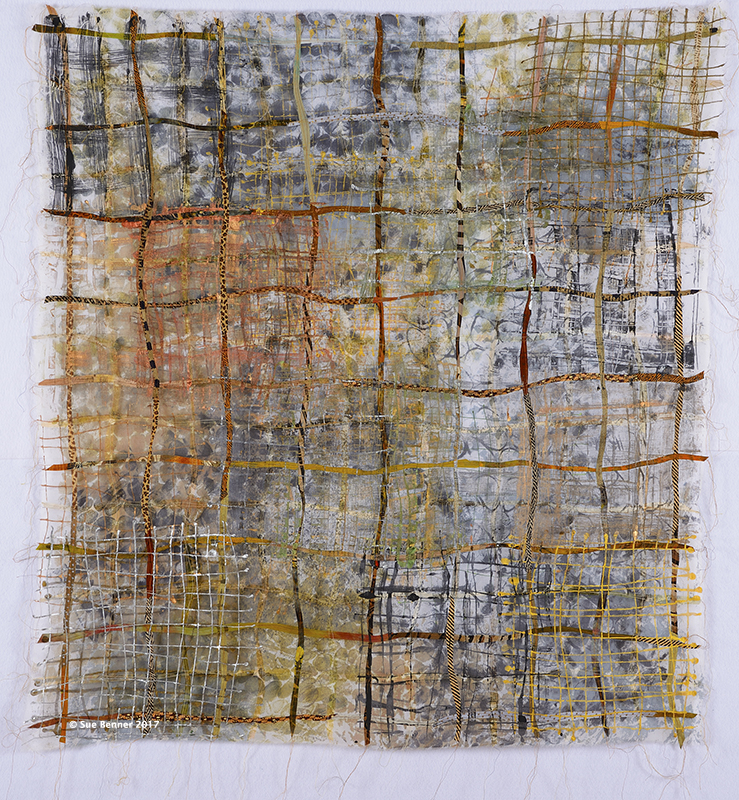 Mesh 7: Mend , 43 H X 40 W in, textile collage