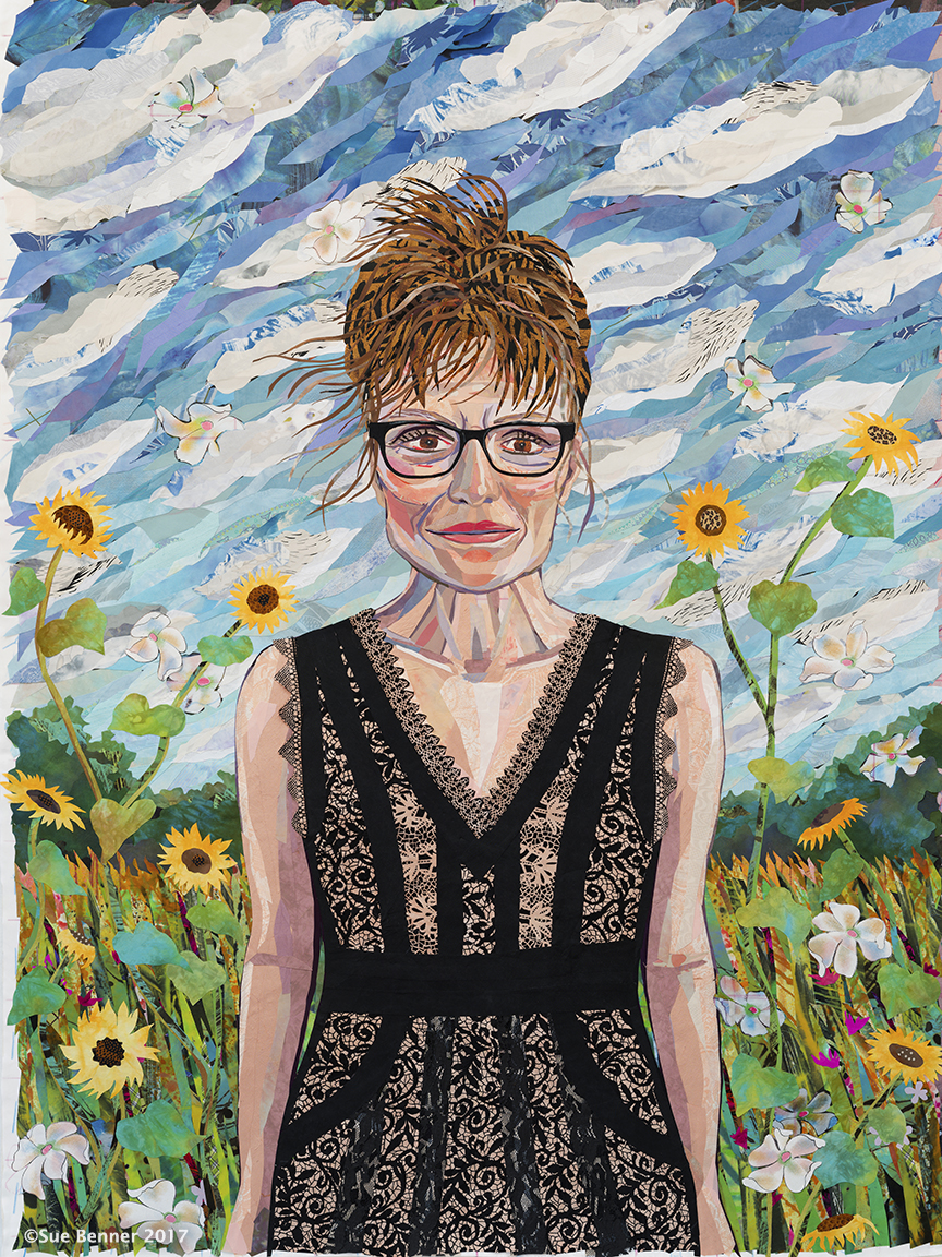 "Self-Portrait Age-Progressed. 62""H X 45""W – 2017. Textile collage on print of Self-Portrait as Bride"
