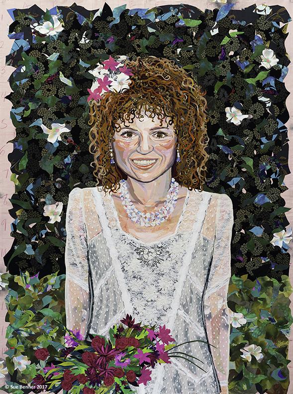 "Self-Portrait as Bride. 62""H X 45""W – 2017. Textile collage on cotton sheet with Mira Fujita printed image"